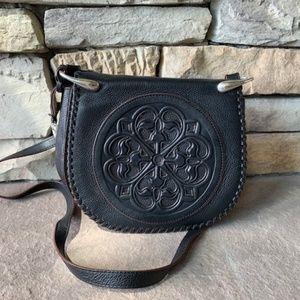 Brighton Black Leather Medallion Saddle Bag Purse